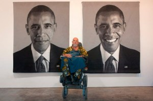 Chuck Close with the tapestries he created of President Obama. CC licensed photo via Flickr.
