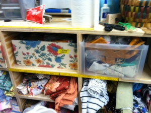 Wall of fabric remnants at SCRAP DC.