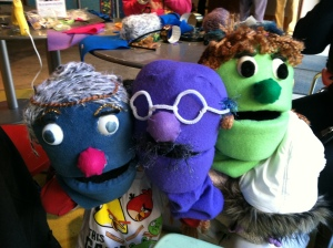 Our finished Adams Morgan Puppets! From the left, that's Granny Smith, Professor Columbia and Juliet.