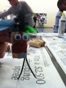 Crazy hair added to a cork with electrical wire legs makes a fun character.