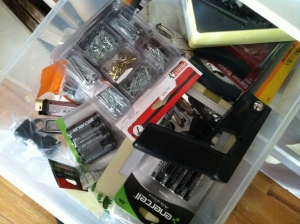 Messy hardware drawer