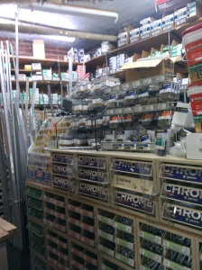 The hardware room, where we spend lots of time searching for that perfect size nut or bolt.