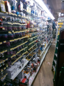 Aisle full of supplies for puppet projects or home repair.