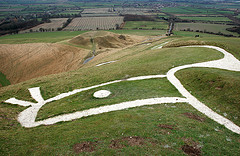 The White Horse of Uffington in England, which Pratchett often describes in a similar way.