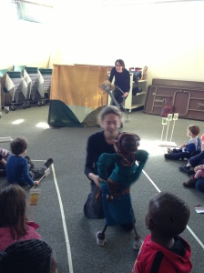 Genna performs Granny Annika in the story 'Anansi and the Dancing Granny.'