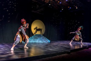 Shaper (Jose Pineda) and Creator (Bob Sheire) bring animals to life in FABULAS MAYAS. Photo by Lonnie Dale Tague.