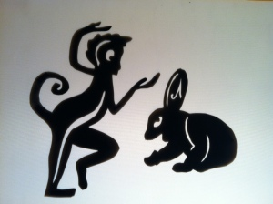 Shadow puppets that we created for Fabulas Mayas at GALA Hispanic Theatre.