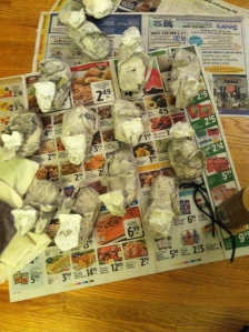 Lots of paper mache mice waiting to be painted.