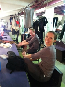 Getting ready in the dressing room, that's Bob Sheire and Carol Spring.