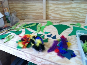 Pieces for the umbrella bird, waiting to be glued on.