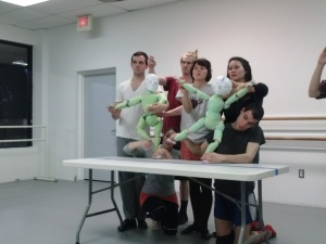 Puppets in rehearsal. Photo by Genna Davidson.