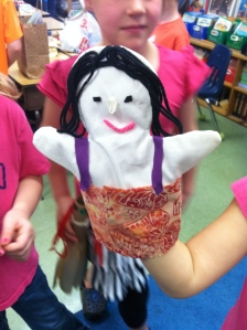 A hand puppet created by a student.