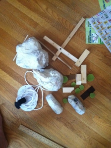 Rehearsal puppet in pieces.