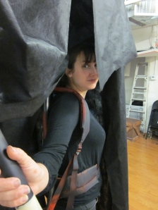 Amy getting set with the rehearsal puppet of Black Annis. Photo by Patricia Germann.
