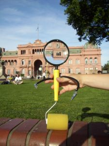 Kismet hanging out in front of Casa Rosada, one of the most well-known buildings in Buenos Aires, Argentina.