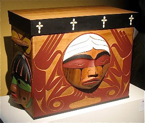 This bentwood box by Luke Marston was commissioned by the Truth and Reconciliation Commission of Canada. Photo is from TRC website.