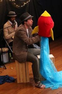 Musician Christylez Bacon and Actor Séamus Miller with rocket built by Wit's End Puppets. Photo by Aram Vartian